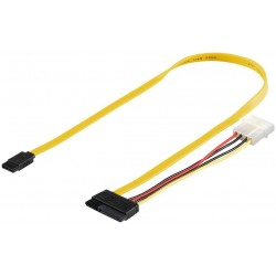 Câble Alimentaition PC 0.5 m SATA 2 en-1 data signal + power 50cm Jaune