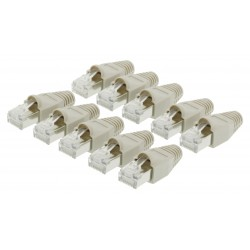 Lot de 10 Connecteur RJ45 Solid UTP CAT5 Mâle Transparent/Gris