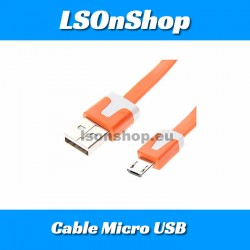 Câble Micro USB Plat Orange 1M